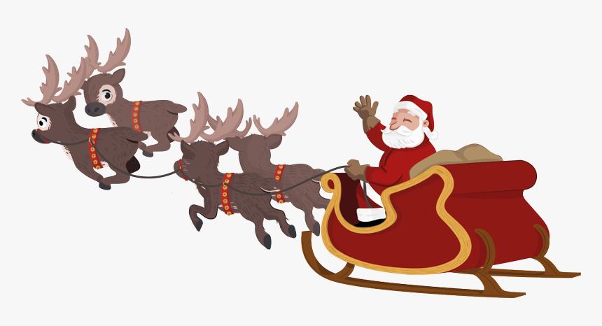 Santa Sleigh and Reindeer Clip Art