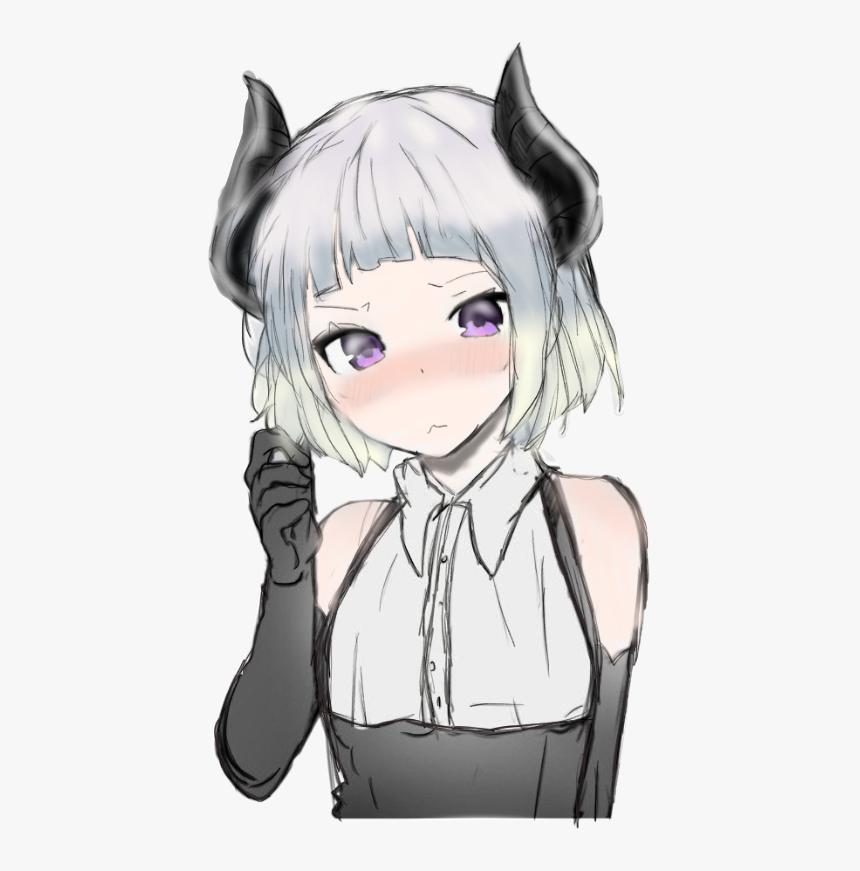 Anime Girl Demon Purple Eyes Mixed Hair Color Cute Anime