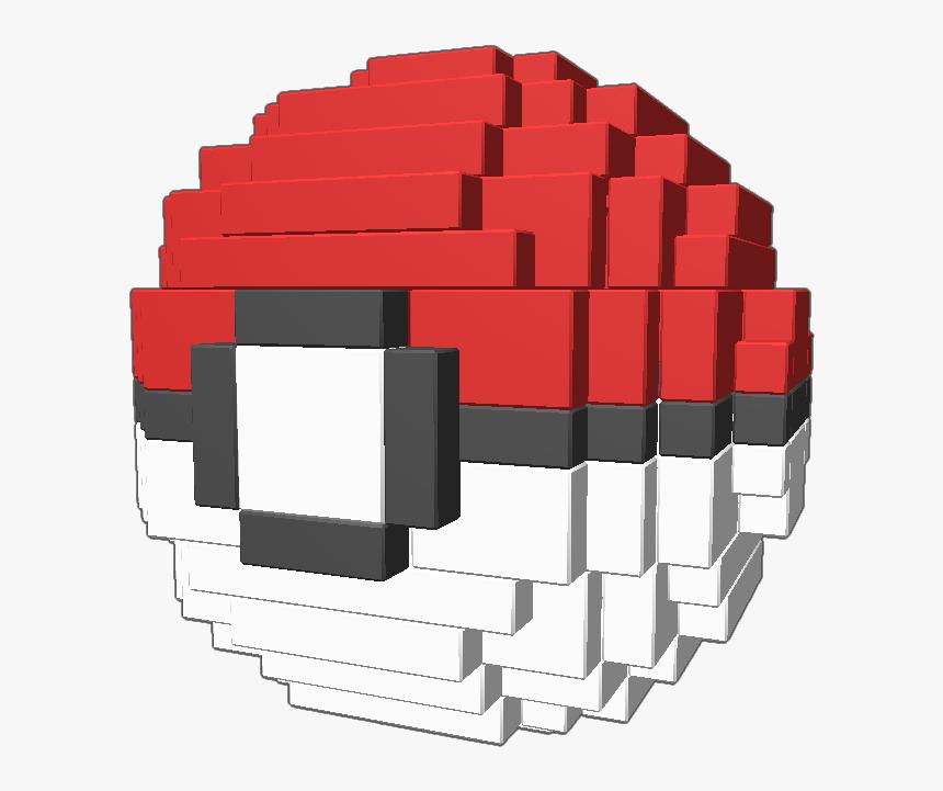 A 3d Pixel Art Pokeball From Pokemon 3d Pixel Art Pokemon