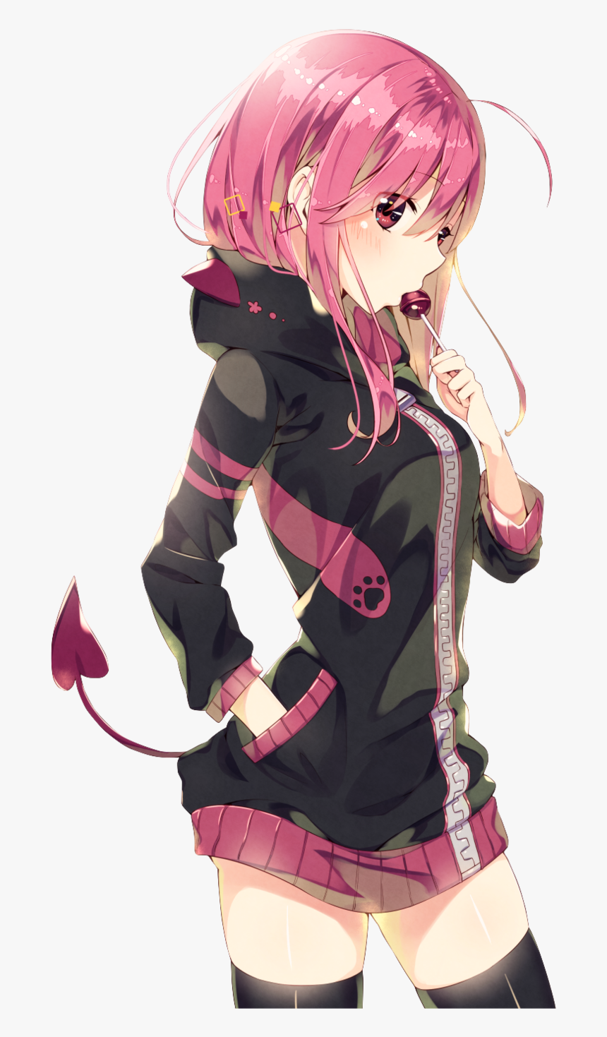 Anime Girl Hot Pink Hair , Png Download, Transparent Png