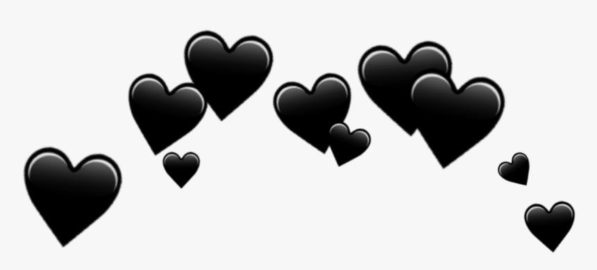 Download Hearts Black Emoji Transparent Background Black Heart