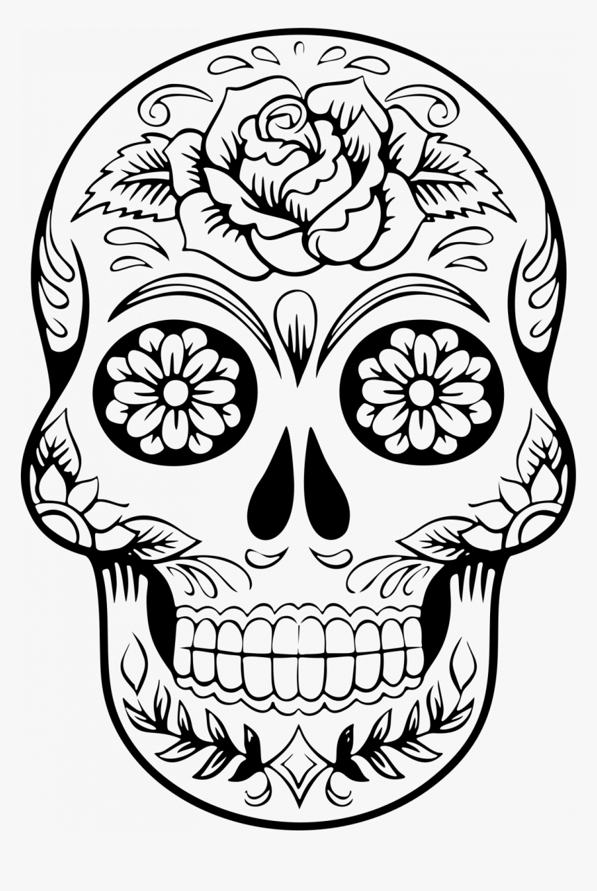 Large Size Of How To Draw A Cool Skull On Fire Looking Sugar Skull Line Drawing Hd Png Download Transparent Png Image Pngitem