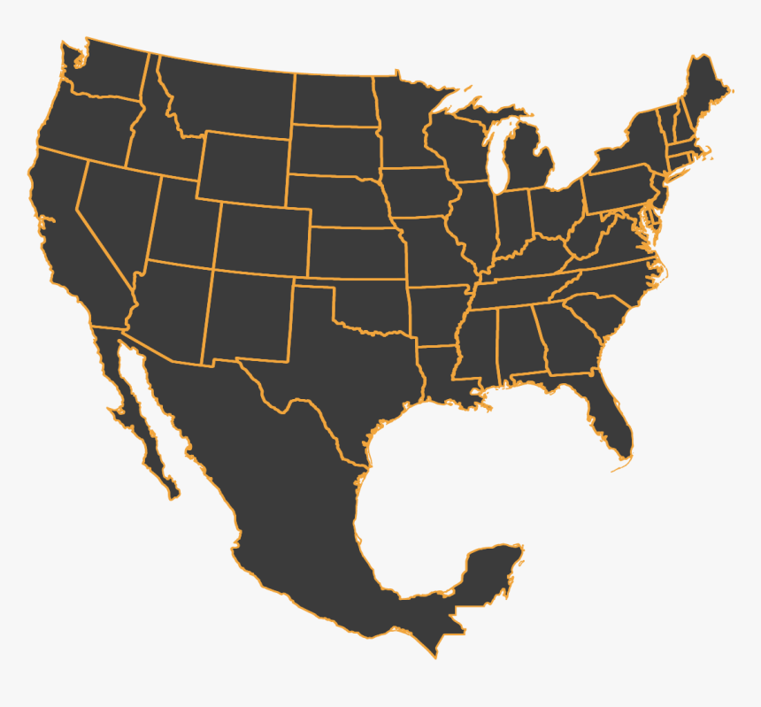 Us Mexico Map Outline United States And Mexico Outline, HD Png Download , Transparent