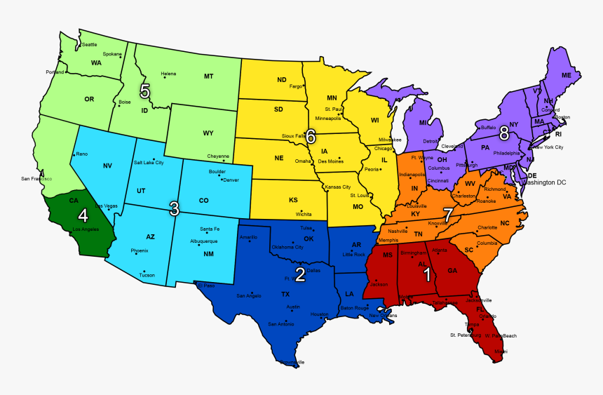 Us Map Divided In Regions - Map Of The World