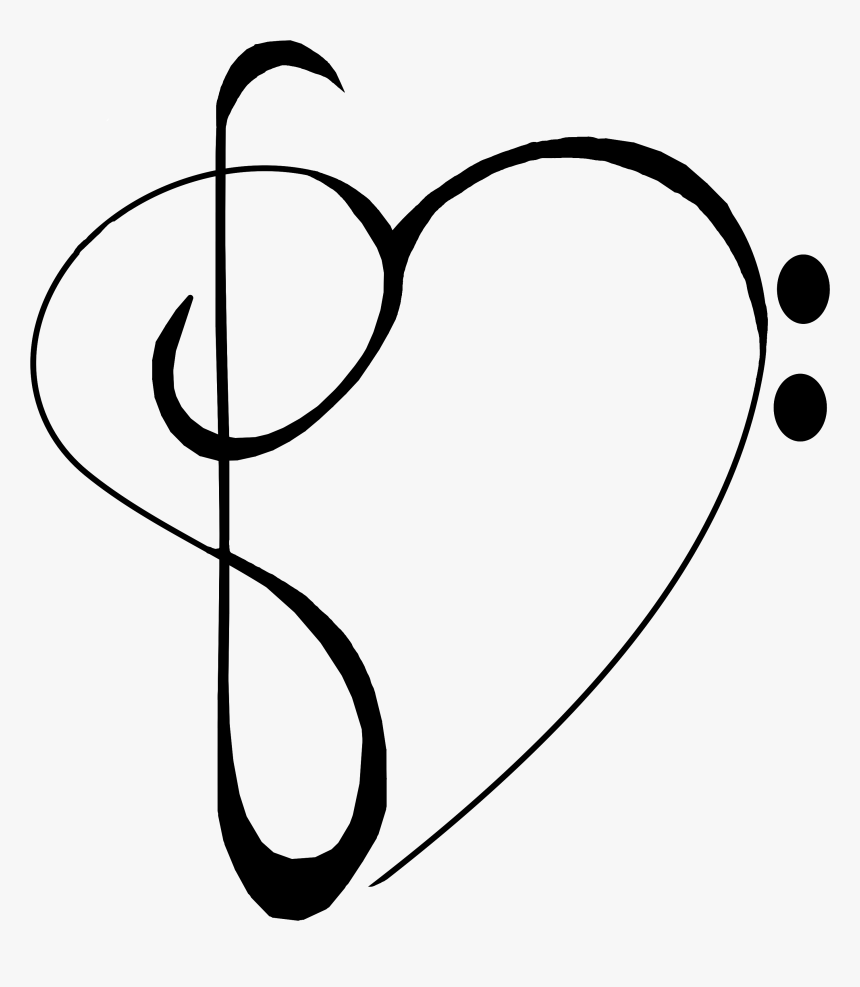 Music Note Heart Clipart 2 Of - Bass Clef Treble Clef Heart - Free  Transparent PNG Clipart Images Download