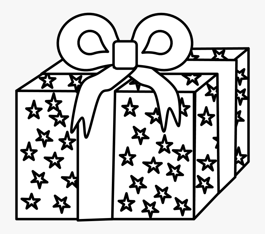 Gift Black And White Wrapping Paper Ribbon Stars Gift Cartoon Black And White Hd Png Download Transparent Png Image Pngitem