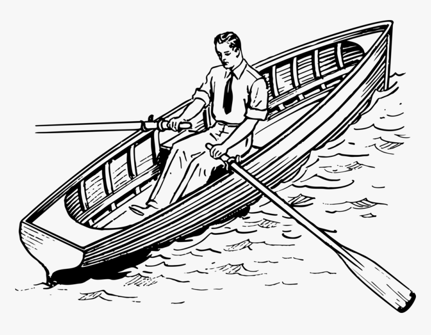 Rowing Sailboat Sailing Recreational Boat Fishing Row Boat Clipart Black And White Hd Png Download Transparent Png Image Pngitem