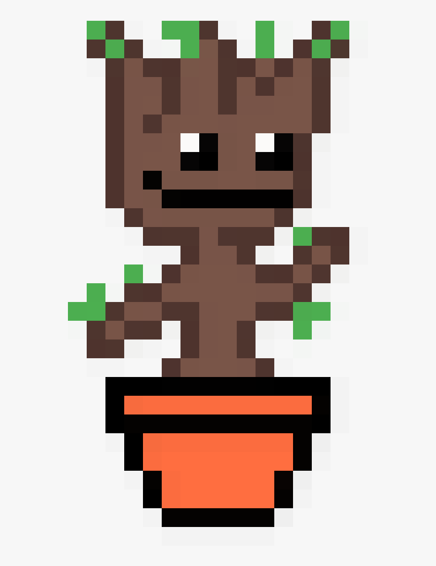 Baby Groot In A Pot Baby Groot Pixel Art Hd Png Download