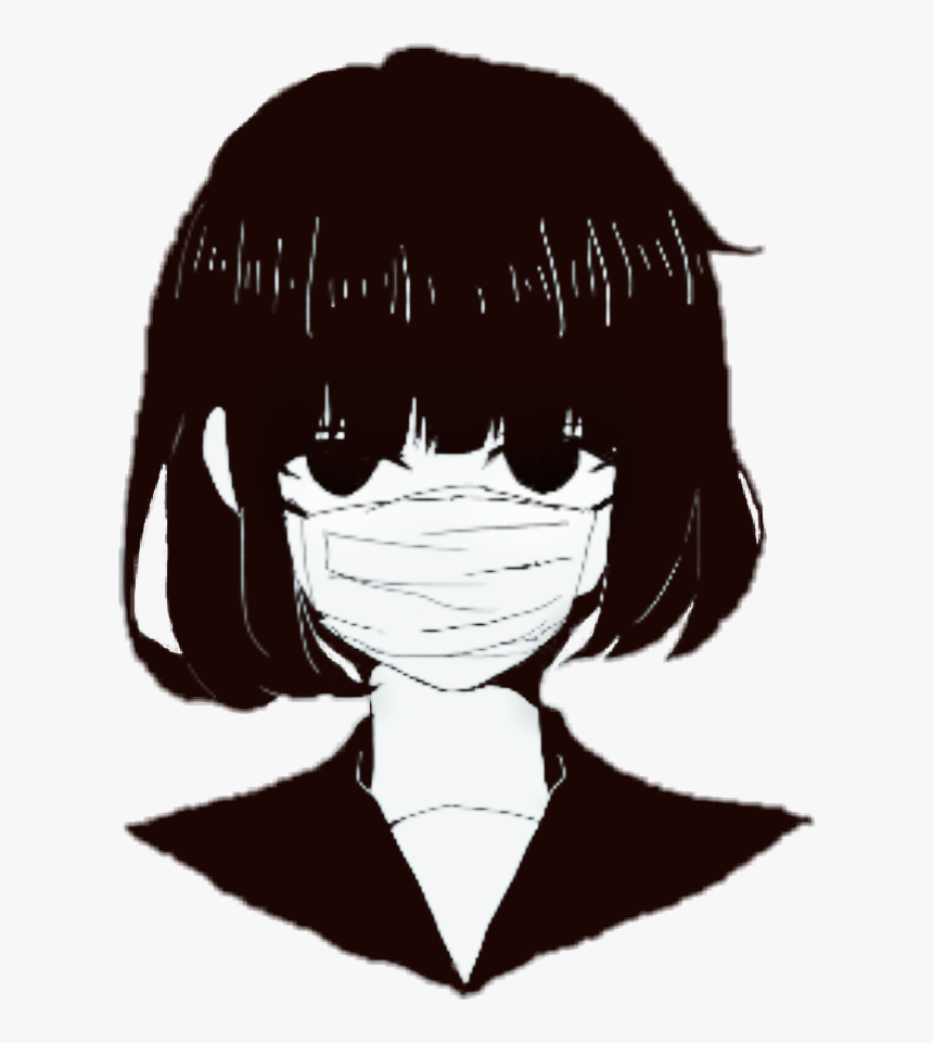 Anime Girl With Mouth Mask , Png Download - Black And White Anime