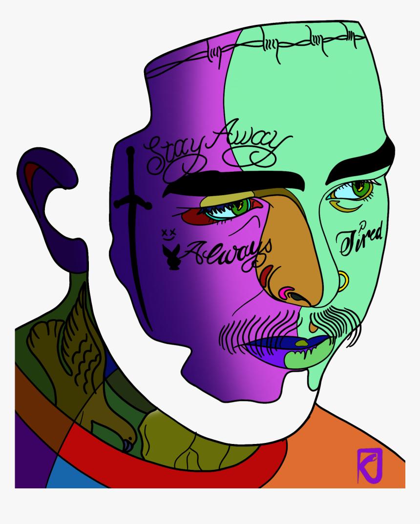 Graphic Art Of Post Malone Wallpaper Hd Cartoon Hd Png Download