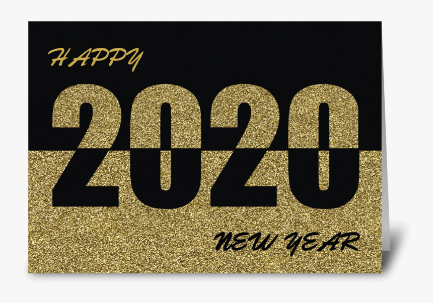 Happy New Year 2020 Gold Glitter Look Greeting Card Happy