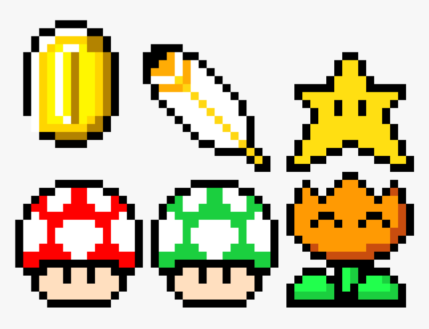 Mario Power Ups Pixel Art Hd Png Download Transparent Png Image
