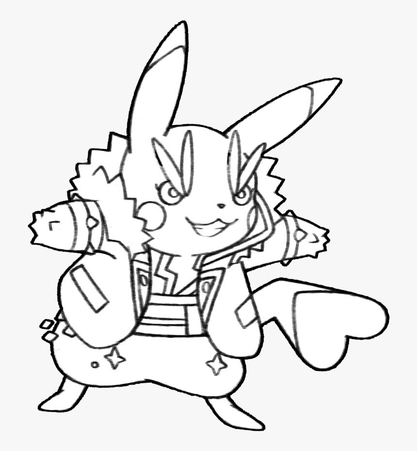 Pikachu Rockstar Coloring Page Hd Png Download Transparent Png