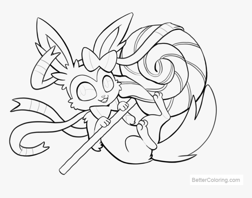 Free Sylveon Coloring Pages Lines By Tsaoshin Printable - Eevee Evolution  Pokemon Coloring Pages, HD Png Download , Transparent Png Image - PNGitem