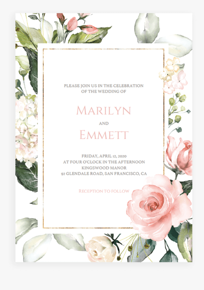Pink And Gold Wedding Invitation Cards Template Floral Floral Rose Gold Invitation Card Hd Png Download Transparent Png Image Pngitem