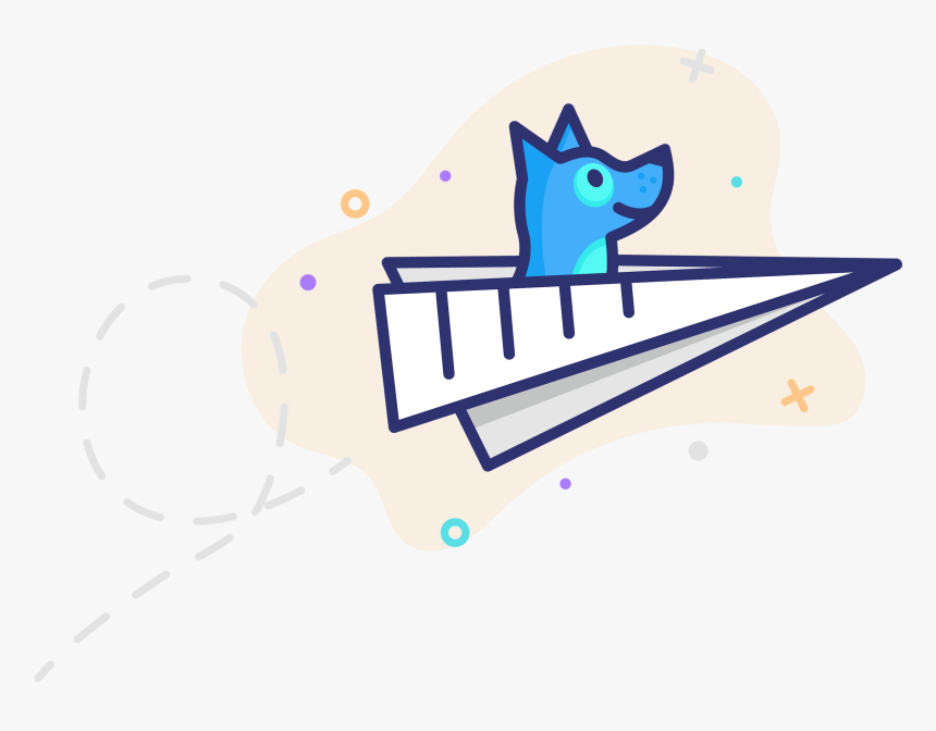 Updog Dog Illustration Flying In A Paper Airplane Cartoon Hd