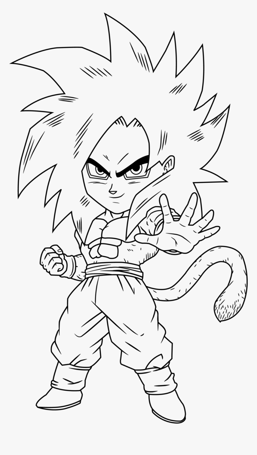 - Goku Ssj4 Coloring Pages - Goku Chibi Coloring Pages, HD Png