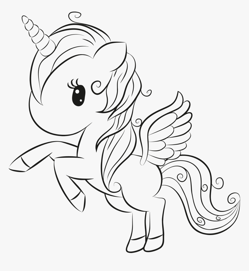 Cute Unicorn Lineart Free Unicorn Coloring Pages Hd Png