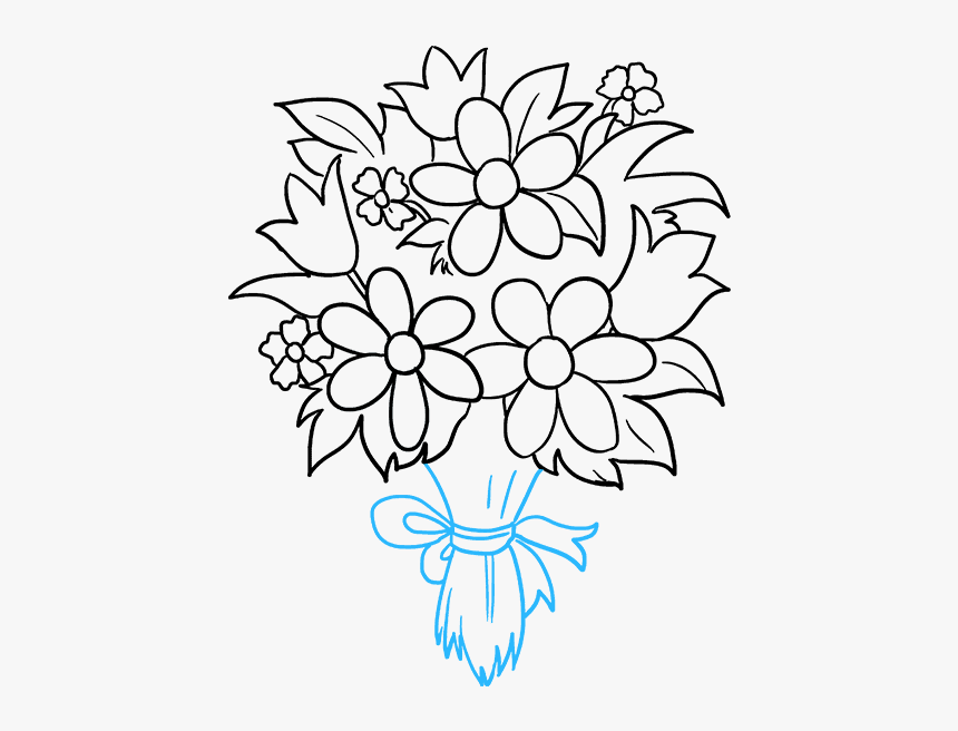 Bouquet Of Flowers Drawing Bouquet Of Flowers Easy Drawing Hd Png Download Transparent Png Image Pngitem