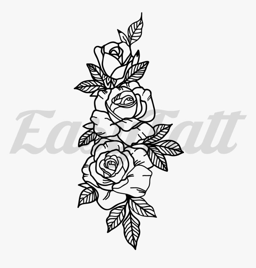 3 Roses Fake Tattoo, 3 Roses Temporary Tattoo , 3 Rose