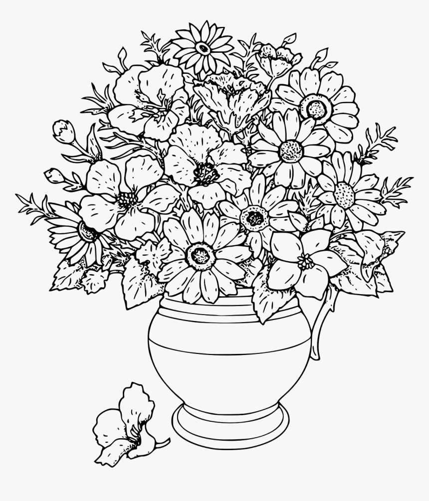 Hard Coloring Pages Flowers Hd Png Download Transparent Png