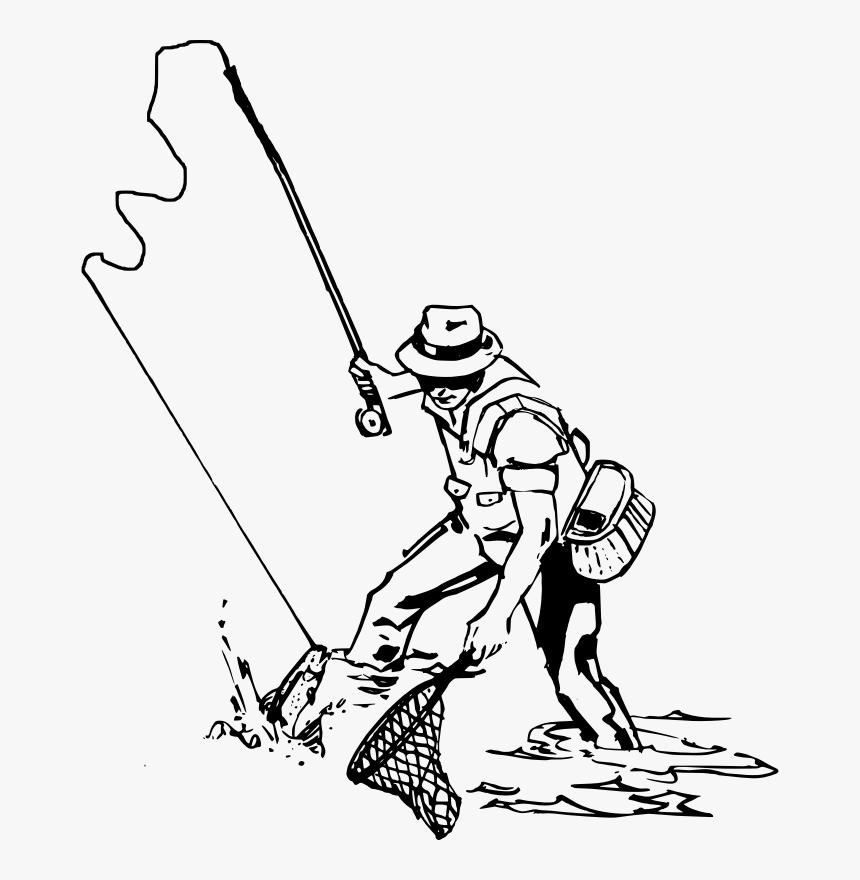 Rod Drawing Fishing Equipment Fly Fishing Man Drawing Hd Png Download Transparent Png Image Pngitem