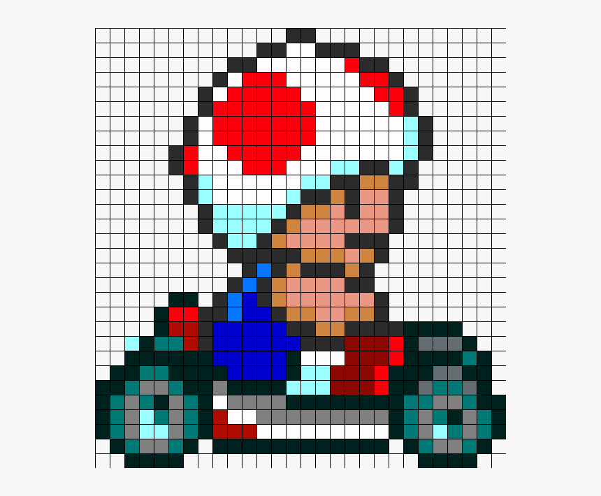 Super Mario Kart Toad Pixel Art Hd Png Download