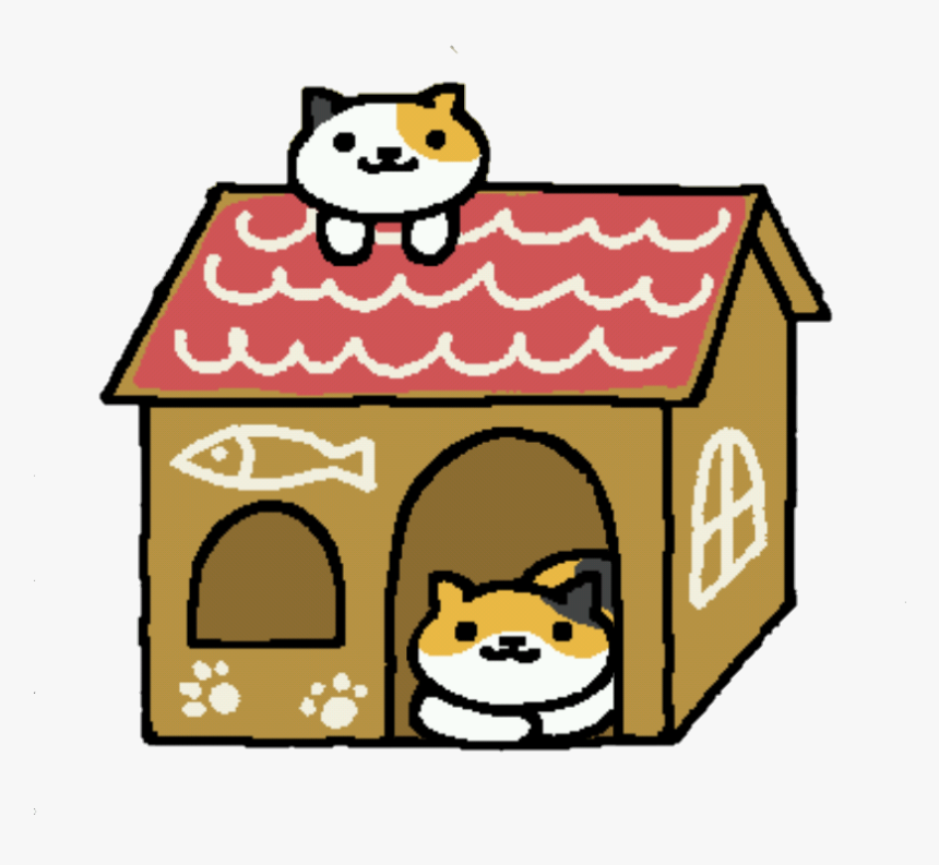 Transparent Callie And Sunny In A Cardboard House Neko Atsume