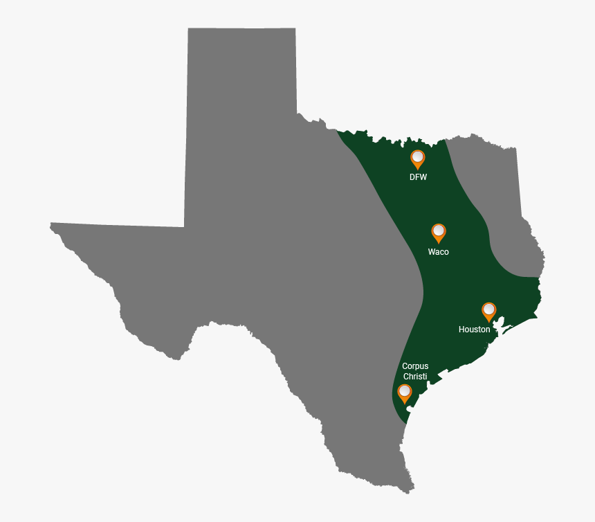 Service Area Map Final - Fort Worth On Texas Map, HD Png ...