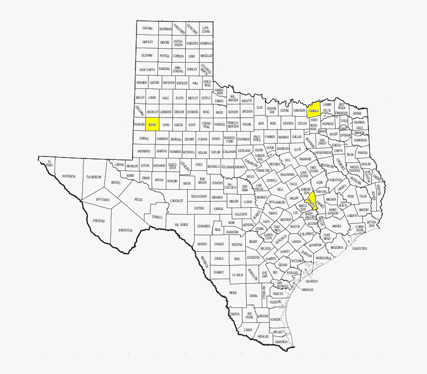 Printable Texas County Map Pdf Hd Png Download Transparent Png