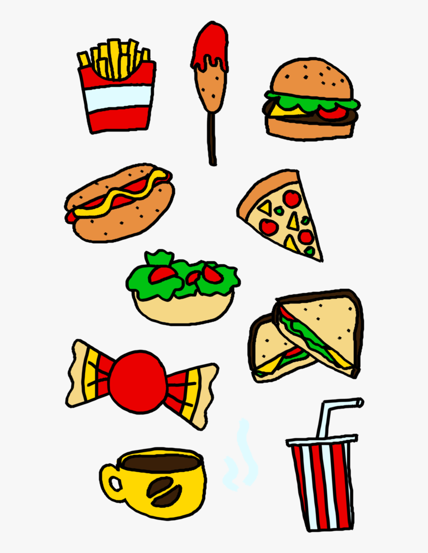 Food Clipart Bad Drawing Of Healthy Food And Junk Food Hd Png Download Transparent Png Image Pngitem