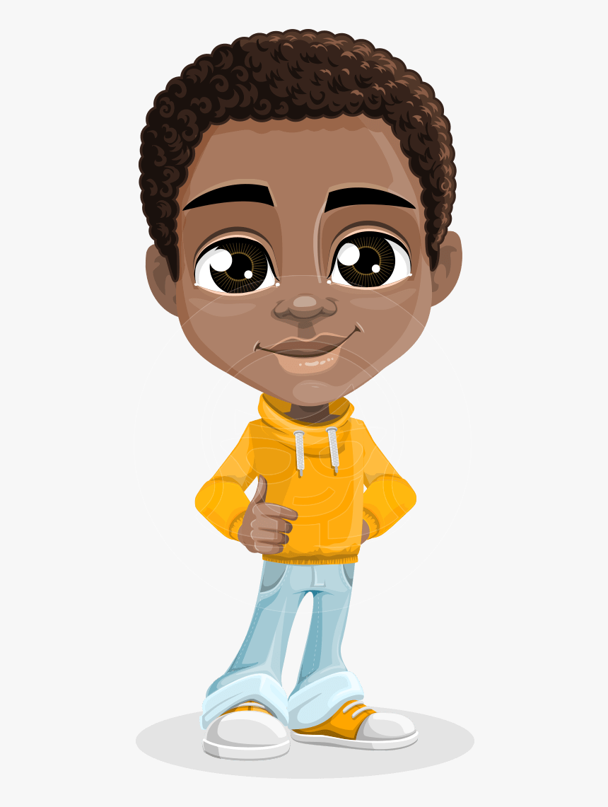 Vector Child Cartoon Character African American Male Cartoon