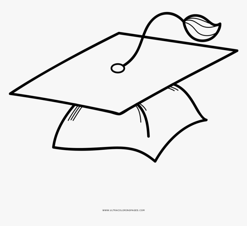 Graduation Cap Coloring Page - Gorro De Graduacion Dibujo, HD Png Download  , Transparent Png Image - PNGitem