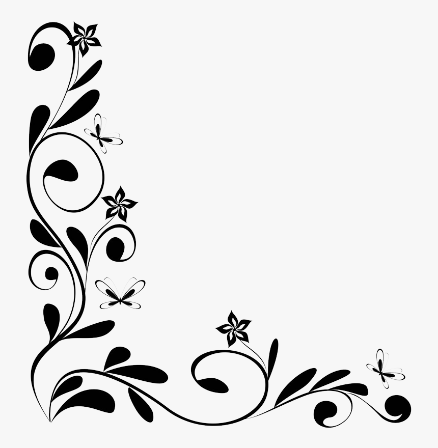 Flower Borders And Frames Clipart Border Design Black And White
