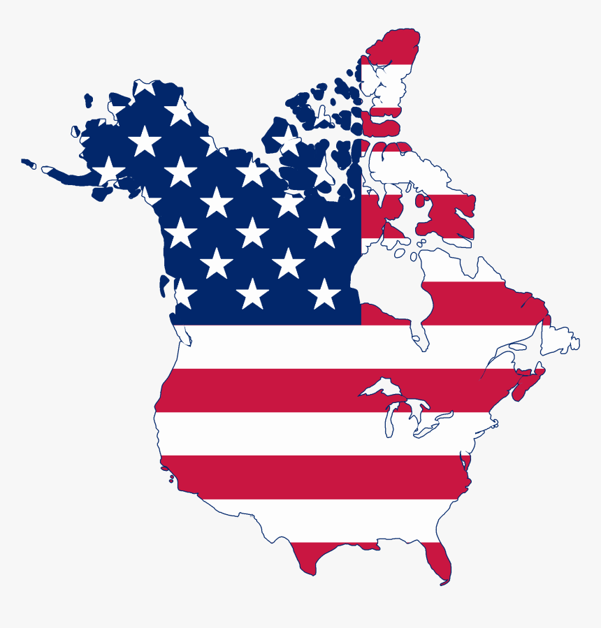 Flag Map Of Canada And United States - Us And Canada United ...