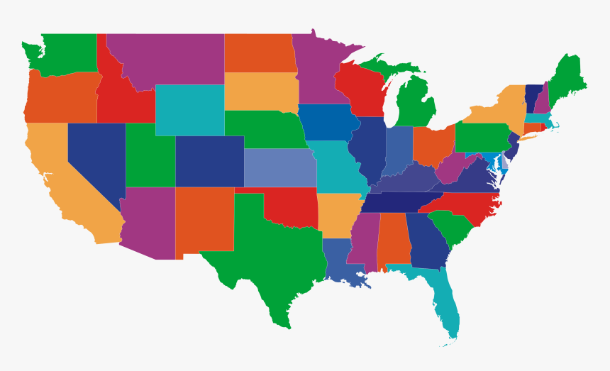 Usa Map Png - Colorful Blank Us Map, Transparent Png ...