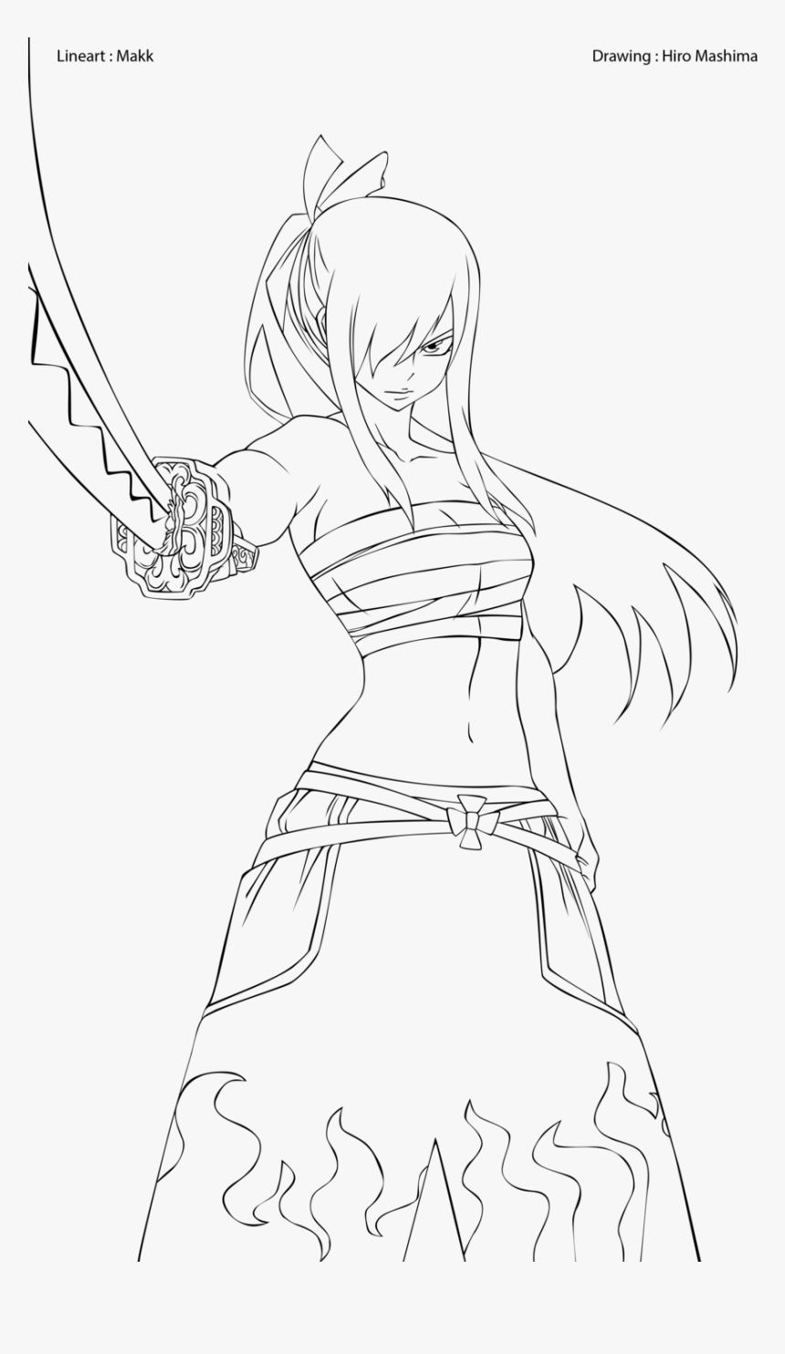 Erza Scarlet Coloring Pages Fairy Tail Erza Outline Hd Png