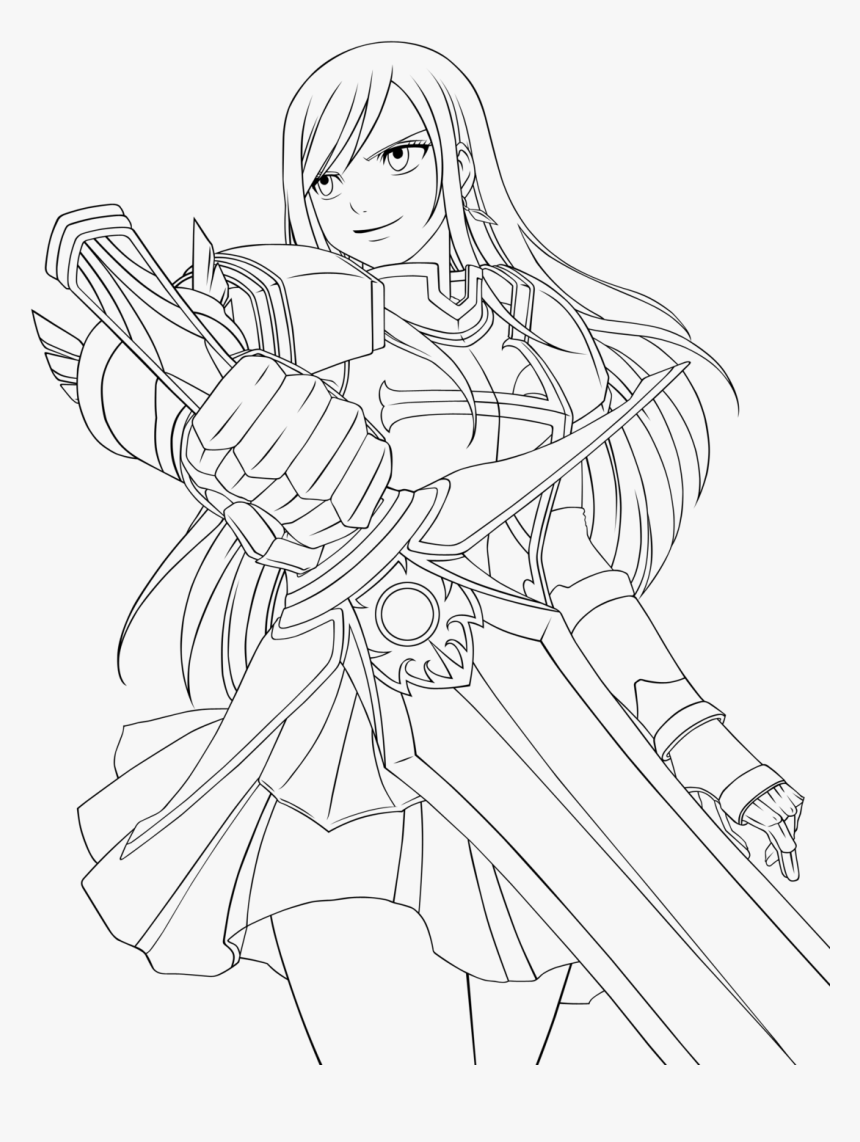 Erza Scarlet Fairy Tail Coloring Pages Sketch Coloring ...