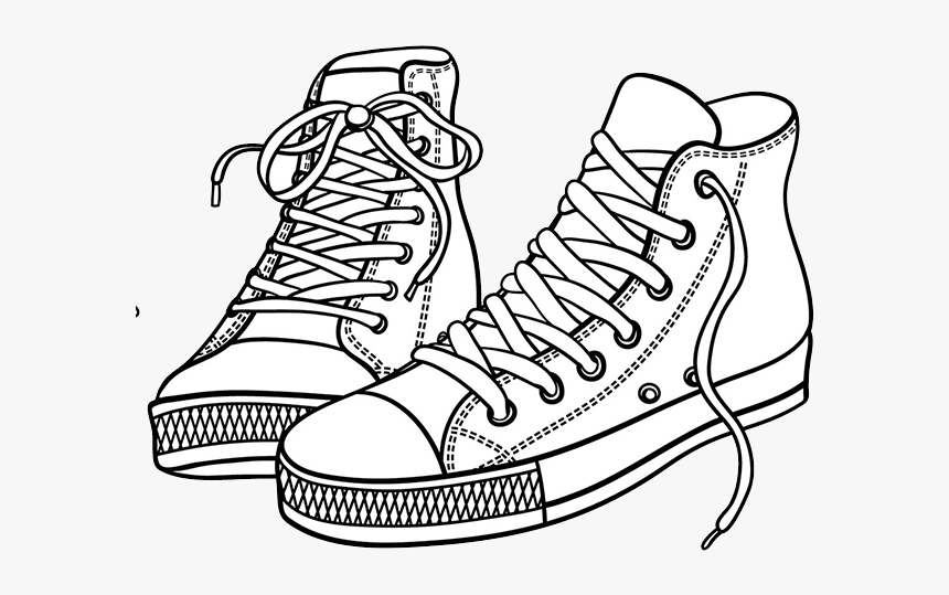 Coloring Shoes High Tops - Red Shoes Clip Art, HD Png ...