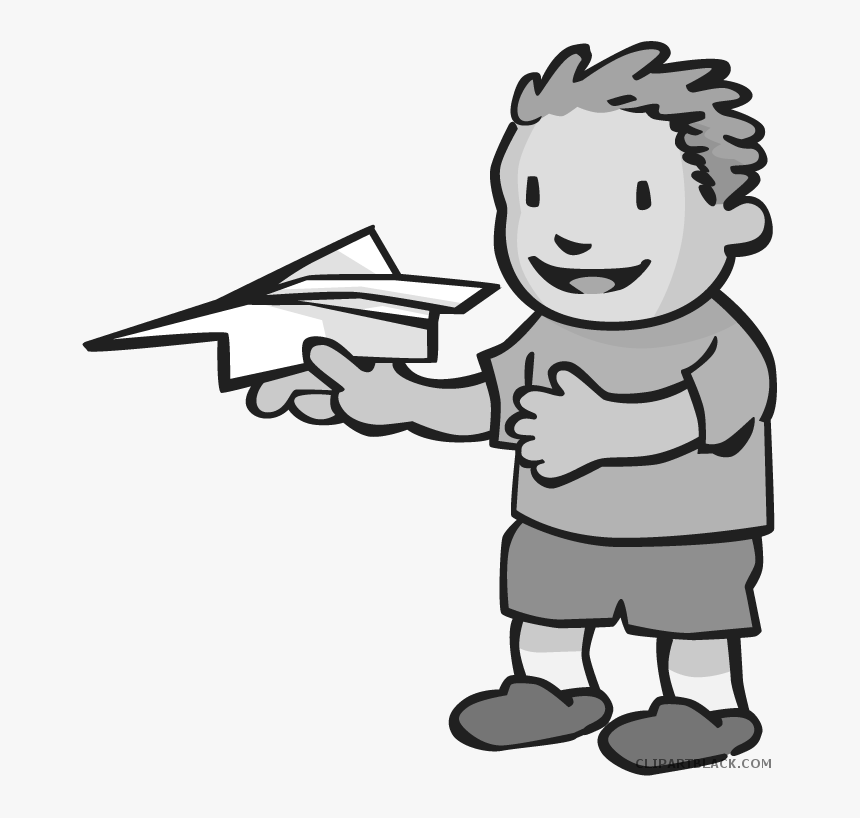 Paper Airplane Transportation Free Black White Clipart Flying A
