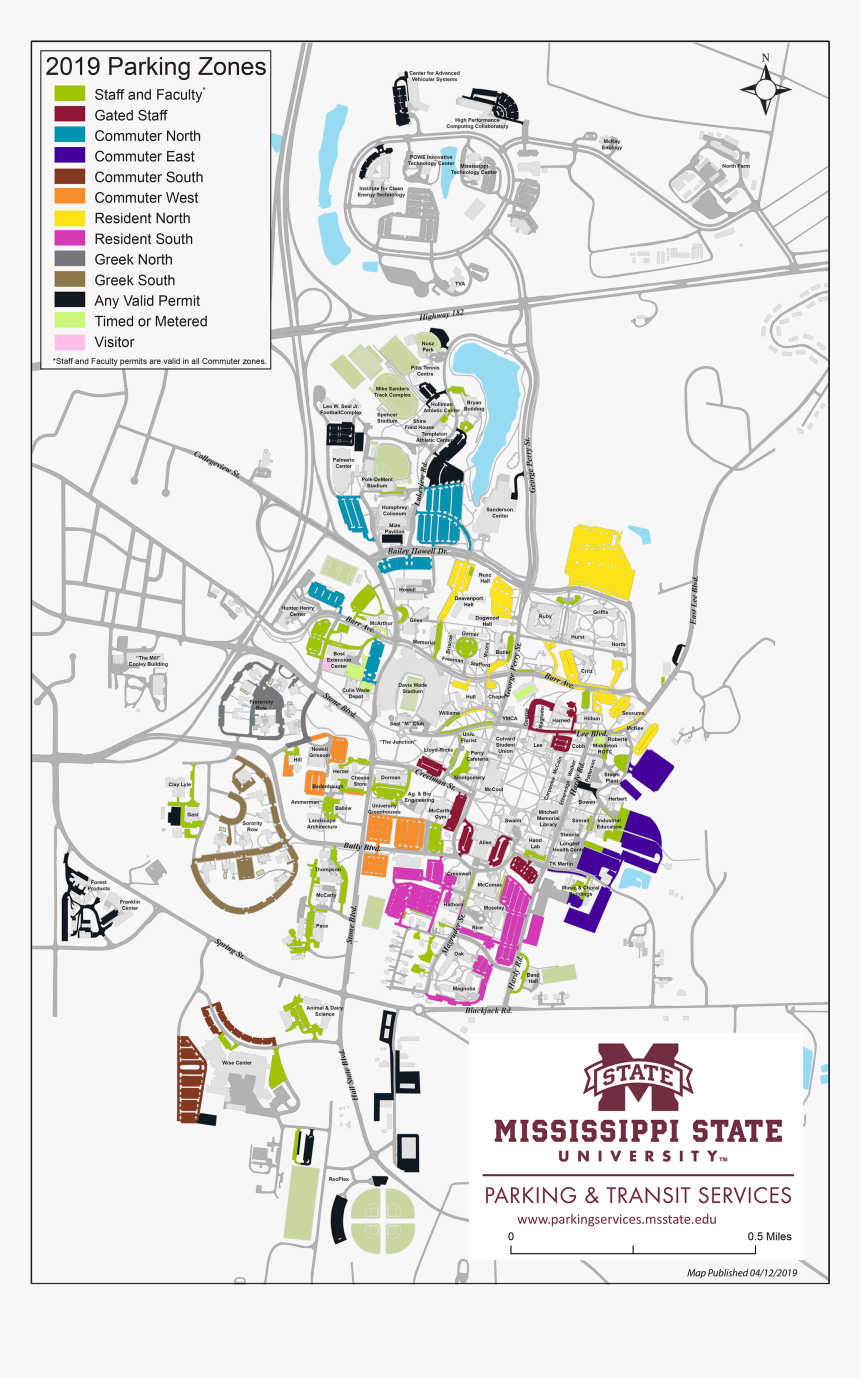 university of mississippi campus map Updated Graduation Parking Map Mississippi State University university of mississippi campus map