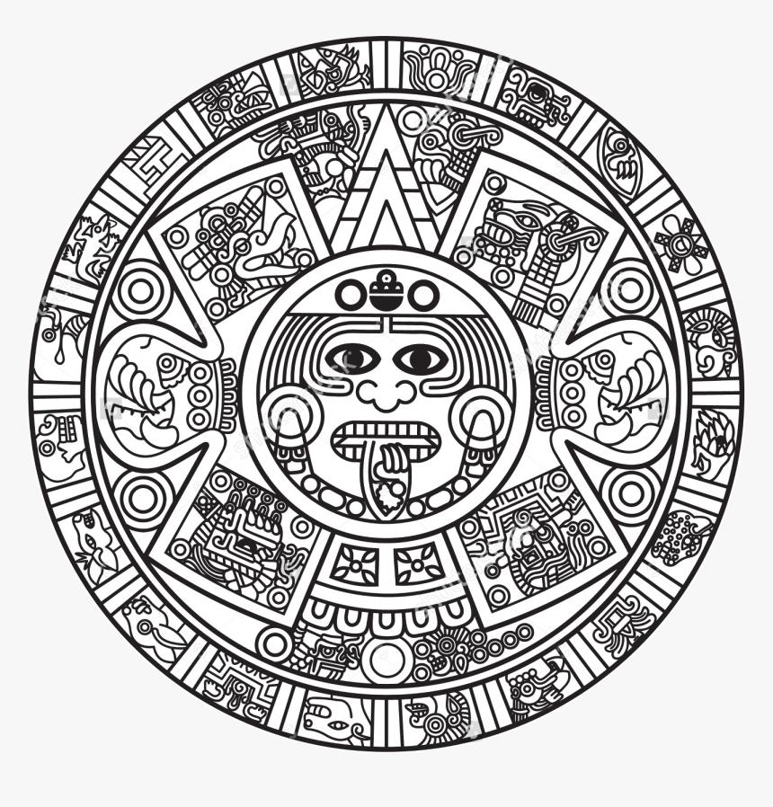 aztec calendar png merchant drawing aztec - aztec calendar coloring page, hd