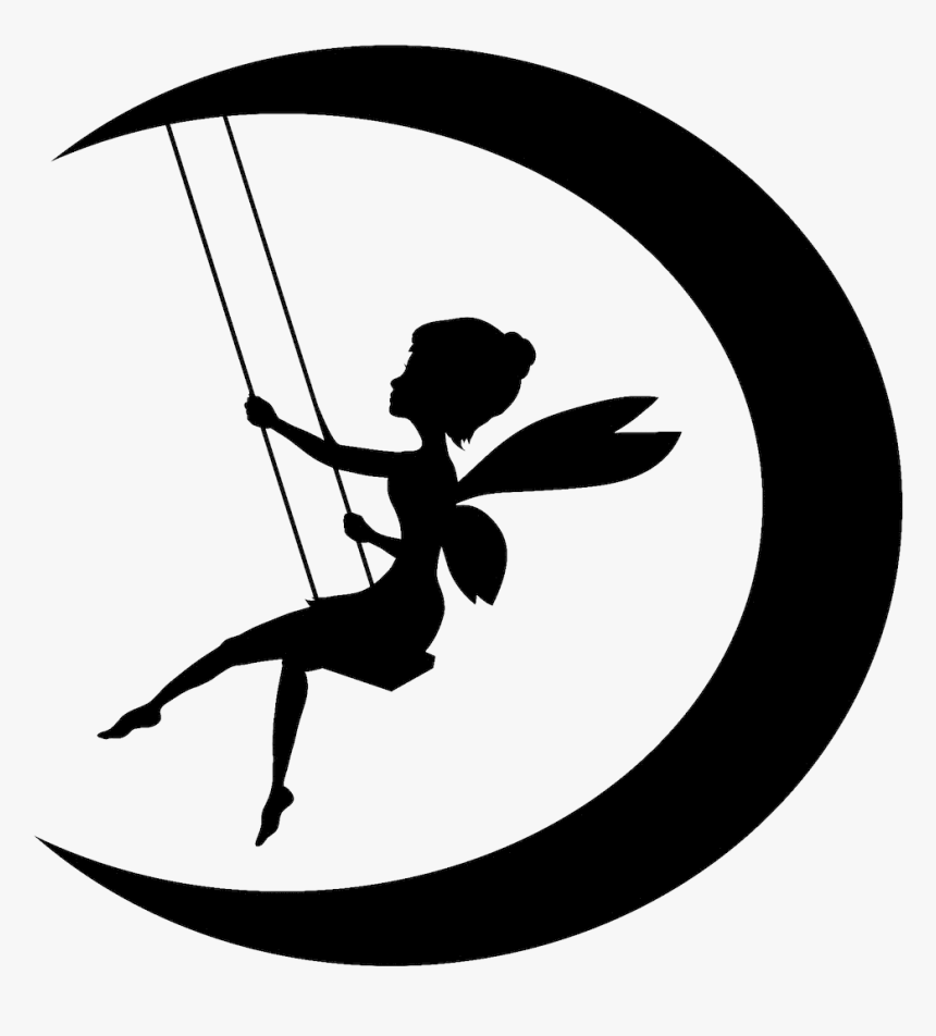 Tinker Bell Fairy Moon Silhouette Clip Art Free Printable Cutout Fairy Silhouette Hd Png Download Transparent Png Image Pngitem