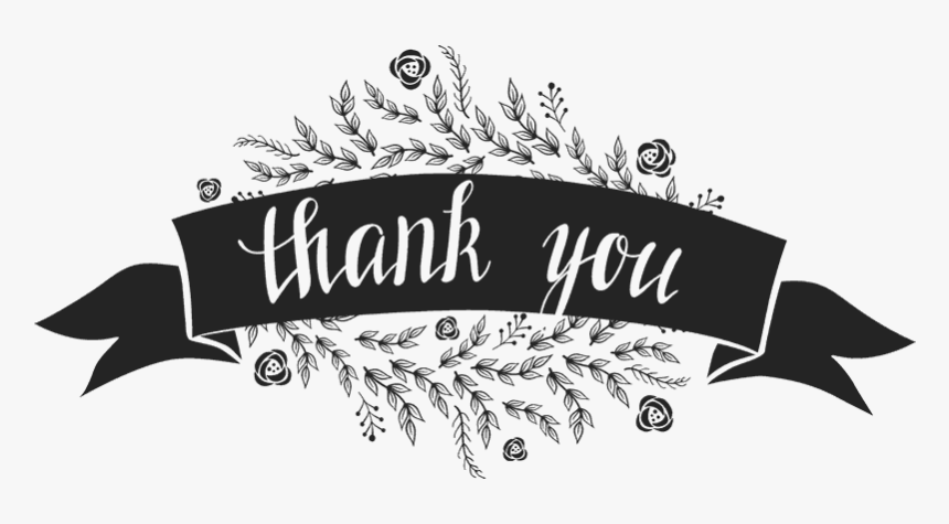 Thank You Stamp With Flowers And Ribbon Banner Black Thank You