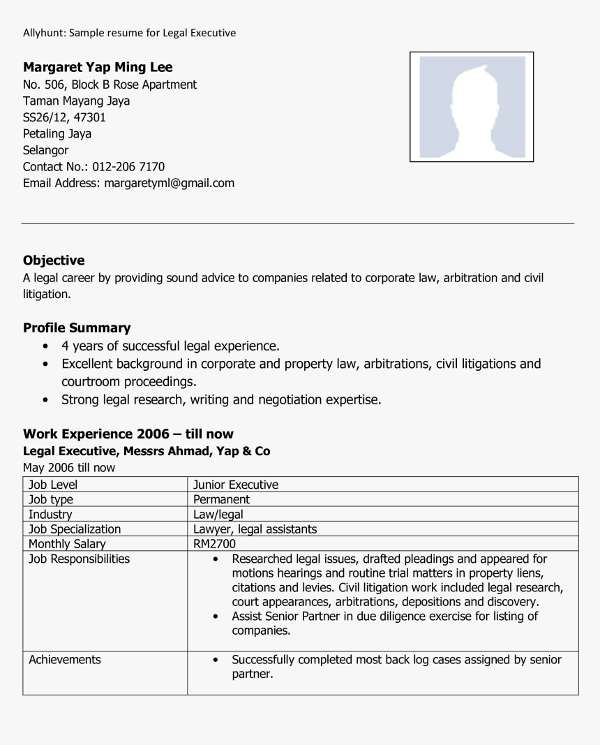 Executive Resume Main Image Hd Png Download Transparent Png