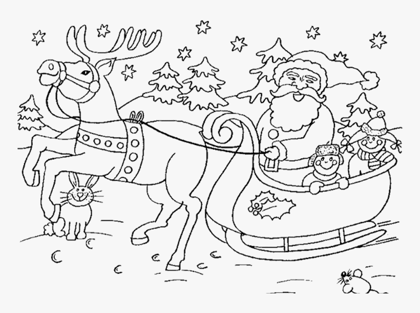 Santa Claus on His Sleigh coloring page | Free Printable Coloring ... | 641x860