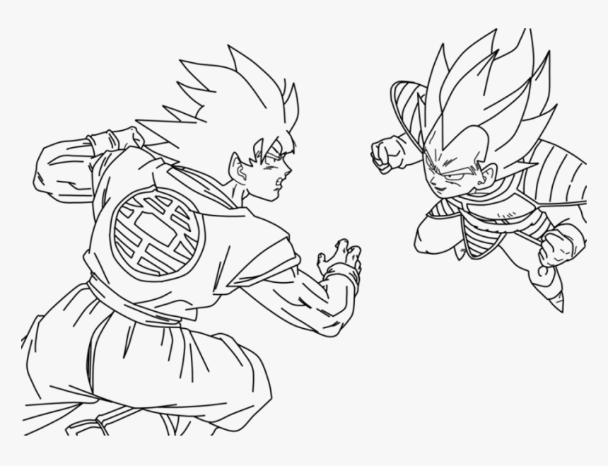 Dibujo De Goku Kakarotto Peleando Cont Dibujos Para Colorear De