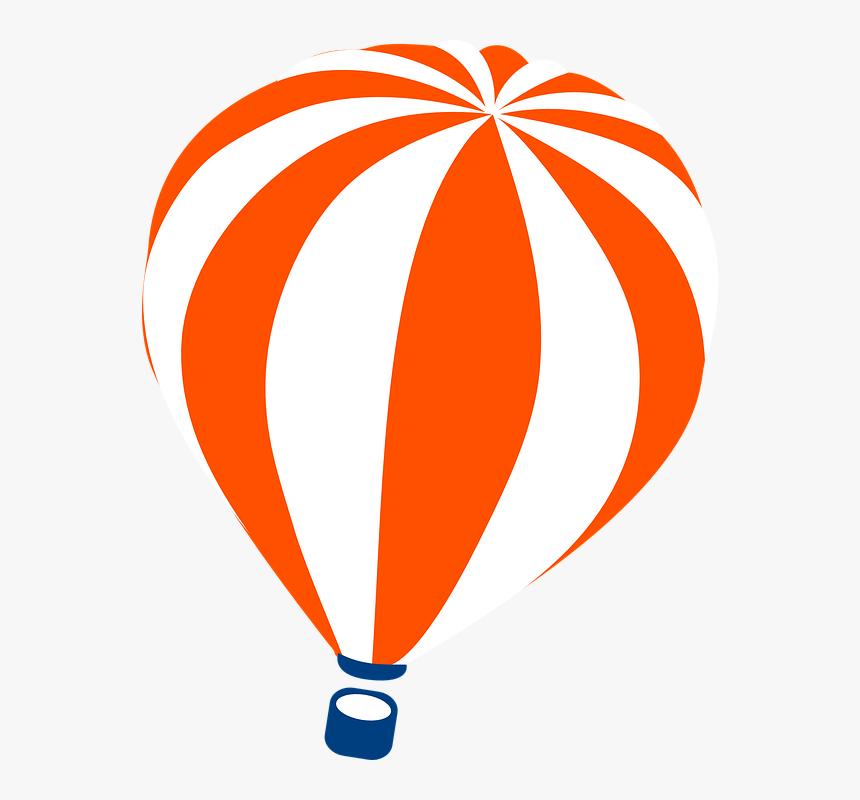 Hot Air Balloon Balloon Striped Orange White Balao Desenho