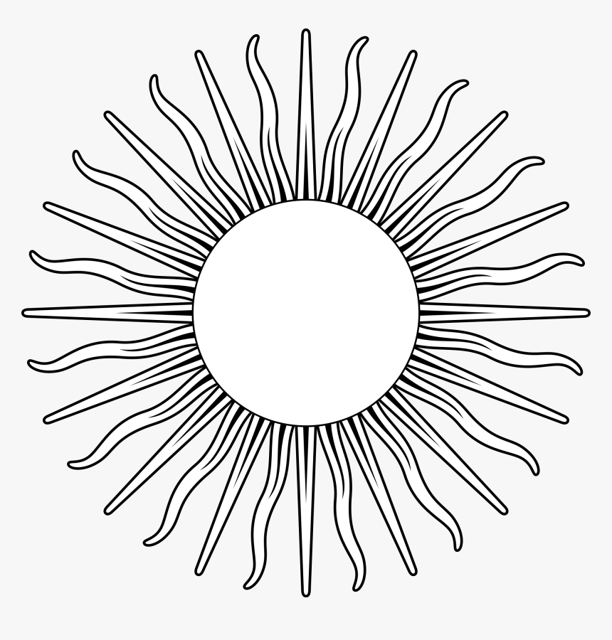Sun Line Art Argentina Flag Sun Black And White Hd Png Download