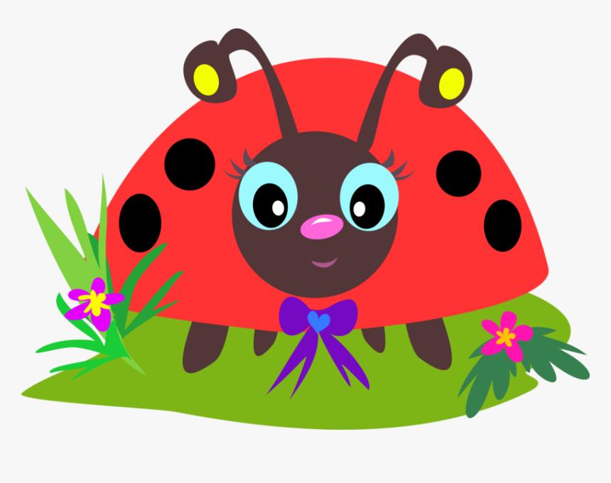 Transparent Red Ladybug Clipart - Lady Bug On The Flower Cartoon ...